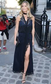 bar refaeli goes for elegance in a midnight blue lace gown at
