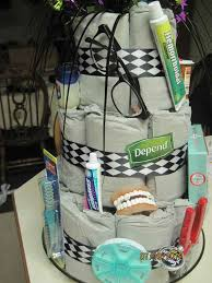 funny cake made of depends diapers and old people stuff for an