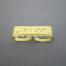 name ring gold solid 10kt gold personalized two finger name ring