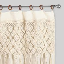 curtain with rings images Macrame curtains with removable wood rings set of 2 world market tif&a