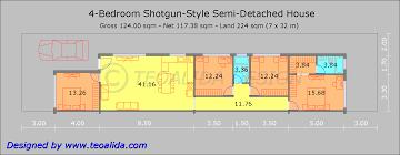 Shotgun House Plan Modern Style House Plan 4 Beds 3 00 Baths 3105 Sqft 132 225 224 X