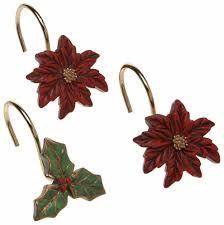 Red Shower Curtain Hooks Bathroom Christmas Decoration Shower Curtain Hooks Carnation Home