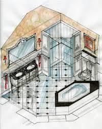 wonderful bathroom interior design sketches rendering concept