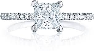princess cut engagement rings with halo tacori pave princess cut engagement ring ht254515pr