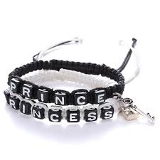 bead string bracelet images Polyester princess prince letter beads string braided friendship jpg
