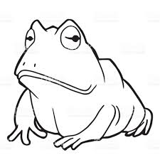 cartoon cute frog coloring page vector illustration stock vector