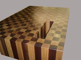 walnut and oak end grain butcher block wood countertop with cutout