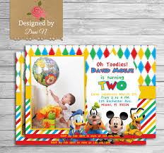 Mickey Mouse Birthday Invitation Card New To Designedbydanin On Etsy Mickey Mouse Birthday Invitation