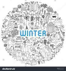 winter holiday theme big set hand stock vector 736741840