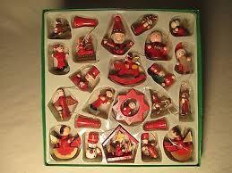 box of 24 vintage miniature tree wooden ornaments