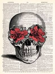 skull with flower creepy chic eye skull