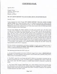 medicare certification letter stop elder abuse petition june 2013 please contact channel 3 on your side requesting an update of the sun grove resort village scams