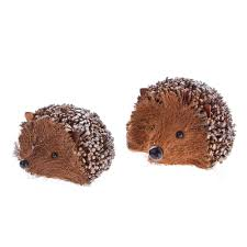 gisela graham christmas pair of glittery twig hedgehog decorations