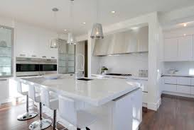 all white kitchen ideas solid countertop 4 white leather bar stools mosaic tile backsplash