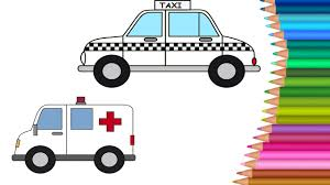 taxi cartoon u0026 ambulance coloring pages colours for kids kids