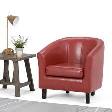 simpli home austin espresso faux leather arm chair axctub 002