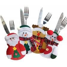 Snowman Chair Covers 4pcs Santa Claus Snowman Elk Knife And Fork Storage Bag Christmas