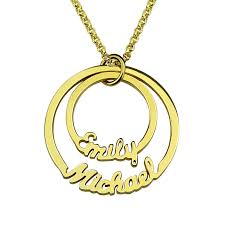 Personalized Disc Necklace Online Shop Wholesale Gold Color Personalized Two Circle Names