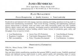 plant manager resume templates sample resume for a manufacturing