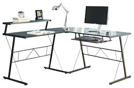 computer desk glass metal corner desk glass decorative black glass corner desk l shaped photo