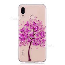 pink butterfly tree clear soft tpu back cover for huawei p20