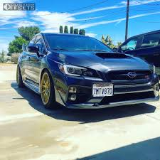 blue subaru gold rims wheel offset 2016 subaru wrx sti nearly flush coilovers