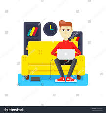 graphic design works at home work home on sofa laptop stock vector 370767908 shutterstock