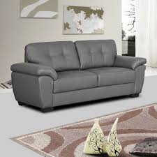 Leather Sofa Cushions Grey Leather Sofa Bradwell Darkwith Tuffted Seats And Cushions