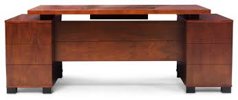 Light Wood Computer Desk Ford Executive Desk With Cabinet Light Wood Contemporary