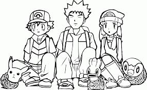 pokemon ash pikachu brok catch coloring page wecoloringpage