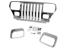 Rugged Ridge Billet Grille Inserts In Black Rugged Ridge Wrangler Billet Grille Inserts Chrome 11401 01 87