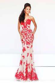 red floral strapless sweetheart slim floor length long prom dress