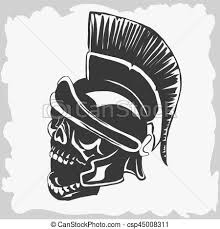 spartan warrior skull in ancient helmet vector spartan vector