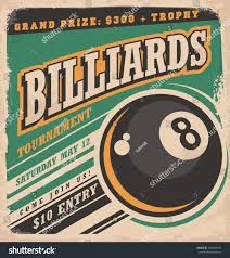 retro poster design billiards tournament vintage stock vector