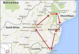 Mozambique Map South Africa Mozambique And Swaziland Bicycle Tour