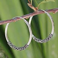thailand earrings sterling silver hoop earrings from thailand at novica