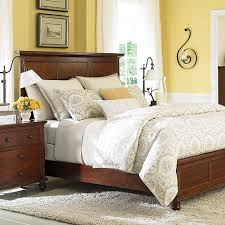 Bedrooms With Yellow Walls Traditional Cherry Wood Queen Panel Bed Master Bedroom