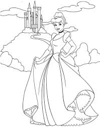 coloring page beautiful cinderella to color coloring page