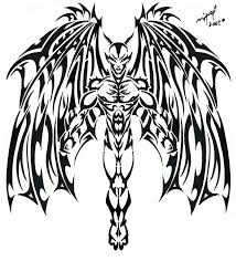 black ink tribal devil tattoo designs