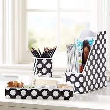 printed paper desk accessories set black dottie pbteen
