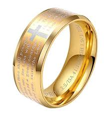 bible verse rings men s 8mm stainless steel bible verse christian cross lord s