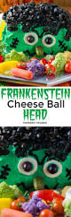 halloween party dip frankenstein cheese ball head