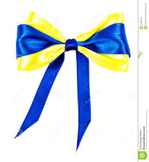 blue and yellow ribbon knotted bow royalty free stock image image 34580186