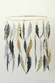 Gray And Gold Gray U0026 Gold Feather Diy Crib Mobile Erin Spain