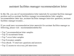 assistant facilities manager recommendation letter