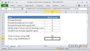 Count Words In Excel Excel Formula Count Total Words In A Range Exceljet