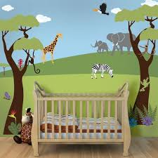 Cartoon Wall Painting In Bedroom Jungle Safari Theme Stencil Kit For Painting A Wall Mural