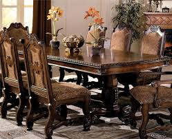mark neo renaissance 7pc double pedestal dining set in warm brown