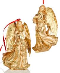 set of 2 gold ornaments for the