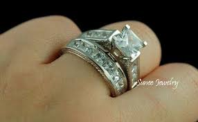 warren wedding rings 4 0ct princess cut engagement wedding ring set size 7 jewelry